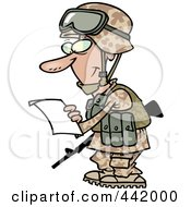 Royalty Free RF Clip Art Illustration Of A Cartoon Soldier Reading A Letter by toonaday