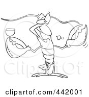 Royalty Free RF Clip Art Illustration Of A Cartoon Black And White Outline Design Of A Lobster Drinking Wine by toonaday
