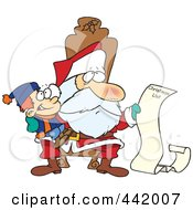 Royalty Free RF Clip Art Illustration Of A Cartoon Santa Reading A Boys Long Christmas List by toonaday