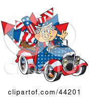 Clipart Illustration Of An American Uncle Sam Driving A Ute With Rockets In The Back by Dennis Holmes Designs
