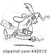 Royalty Free RF Clip Art Illustration Of A Cartoon Black And White Outline Design Of A Christmas Elf Running With A Letter For Santa