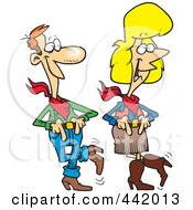 Royalty Free RF Clip Art Illustration Of A Cartoon Couple Line Dancing