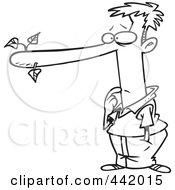 Royalty Free RF Clip Art Illustration Of A Cartoon Black And White Outline Design Of A Male Liar With A Long Nose by toonaday