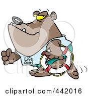 Royalty Free RF Clip Art Illustration Of A Cartoon Lifeguard Bear Carrying A Life Buoy