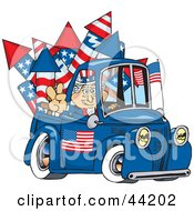 Clipart Illustration Of An American Uncle Sam Driving A Truck With Fireworks In The Bed