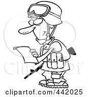Royalty Free RF Clip Art Illustration Of A Cartoon Black And White Outline Design Of A Soldier Reading A Letter