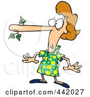 Royalty Free RF Clip Art Illustration Of A Cartoon Lying Woman With A Long Nose by Ron Leishman