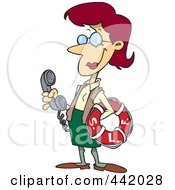 Cartoon Female Librarian Holding A Life Buoy