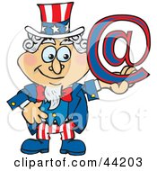 Clipart Illustration Of An American Uncle Sam Holding An Arobase At Email Symbol