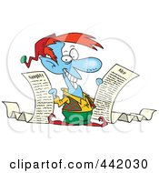 Royalty Free RF Clip Art Illustration Of A Cartoon Christmas Elf Holding Naughty And Nice Lists by toonaday