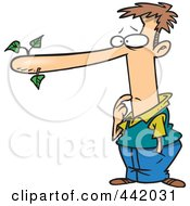 Royalty Free RF Clip Art Illustration Of A Cartoon Male Liar With A Long Nose by Ron Leishman