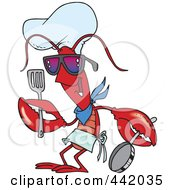 Royalty Free RF Clip Art Illustration Of A Cartoon Lobster Chef by Ron Leishman
