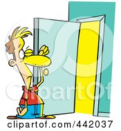 Royalty Free RF Clip Art Illustration Of A Cartoon Man Standing At An Open Door With Bright Light by toonaday