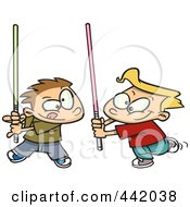 Royalty Free RF Clip Art Illustration Of Cartoon Boys Playing With Light Sabres by toonaday
