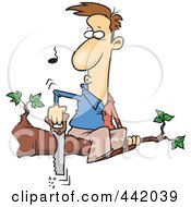 Royalty Free RF Clip Art Illustration Of A Cartoon Man On A Tree Limb Sawing It Off