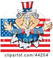 Clipart Illustration Of An American Uncle Sam Bursting Through A Flag by Dennis Holmes Designs