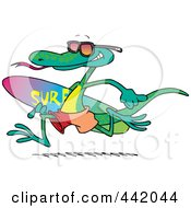 Royalty Free RF Clip Art Illustration Of A Cartoon Surfing Lizard by toonaday