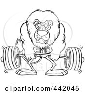 Royalty Free RF Clip Art Illustration Of A Cartoon Black And White Outline Design Of A Lion Weightlifting by toonaday