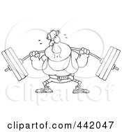 Royalty Free RF Clip Art Illustration Of A Cartoon Black And White Outline Design Of A Man Lifting A Barbell