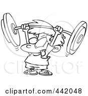 Royalty Free RF Clip Art Illustration Of A Cartoon Black And White Outline Design Of A Little Boy Lifting A Barbell