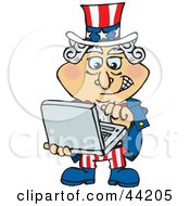 Clipart Illustration Of An American Uncle Sam Emailing On A Laptop