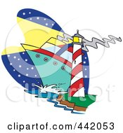 Royalty Free RF Clip Art Illustration Of A Cartoon Big Ship Near A Light House by Ron Leishman