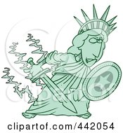 Royalty Free RF Clip Art Illustration Of A Cartoon Defensive Statue Of Liberty Holding A Shield And Sword