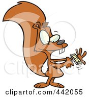Royalty Free RF Clip Art Illustration Of A Cartoon Squirrel Using A Lint Brush by toonaday