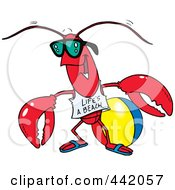 Royalty Free RF Clip Art Illustration Of A Cartoon Lobster At The Beach by toonaday