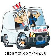 Clipart Illustration Of An American Uncle Sam Waving And Driving A Delivery Van by Dennis Holmes Designs