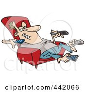 Cartoon Man Sitting In A Recliner And Holding Many Remote Controls