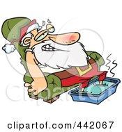 Royalty Free RF Clip Art Illustration Of A Cartoon Santa Relaxing With A Foot Bath
