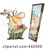 Royalty Free RF Clip Art Illustration Of A Cartoon Man Adjusting His New Tie