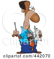 Royalty Free RF Clip Art Illustration Of A Cartoon Black Businessman Repairing His Wires by toonaday