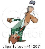 Royalty Free RF Clip Art Illustration Of A Cartoon Gloomy Black Businessman Returning To Work