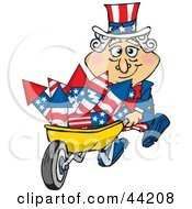 Clipart Illustration Of An American Uncle Sam Pushing A Wheelbarrow Full Of Rockets