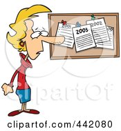 Royalty Free RF Clip Art Illustration Of A Cartoon Woman Staring At Her Past New Year Resolutions On A Bulletin by toonaday