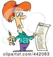 Royalty Free RF Clip Art Illustration Of A Cartoon Woman Holding A Long New Year Resolutions List by toonaday