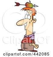 Cartoon Relieved Man With An Arrow Through An Apple On His Head