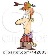 Royalty Free RF Clip Art Illustration Of A Cartoon Relieved Man With An Arrow Through An Apple On His Head by toonaday