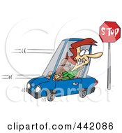 Royalty Free RF Clip Art Illustration Of A Cartoon Woman Running A Stop Sign by toonaday