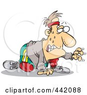 Royalty Free RF Clip Art Illustration Of A Cartoon Sweaty Man Exercising For His New Year Resolution