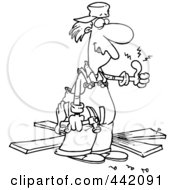 Poster, Art Print Of Cartoon Black And White Outline Design Of A Repair Man With A Throbbing Thumb