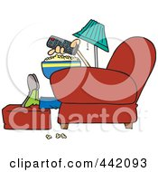 Royalty Free RF Clip Art Illustration Of A Cartoon Man With Popcorn Pointing A Remote At A Tv by toonaday