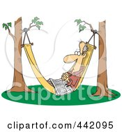 Cartoon Retired Man Napping In A Hammock With A Newspaper