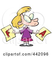 Cartoon School Girl Holding Good And Bad Report Cards