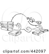Royalty Free RF Clip Art Illustration Of A Cartoon Black And White Outline Design Of A Bear Reading Books
