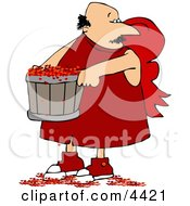 Valentines Day Cupid Man Carrying A Bucket Full Of Tiny Red Love Hearts Clipart by Dennis Cox