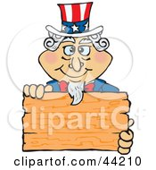 Clipart Illustration Of An American Uncle Sam Holding A Blank Wooden Sign