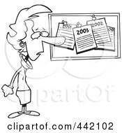 Royalty Free RF Clip Art Illustration Of A Cartoon Black And White Outline Design Of A Woman Staring At Her Past New Year Resolutions On A Bulletin by toonaday